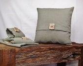 Pillow Cover 12x12 Sage Green Linen Cotton Blend, Wood Button