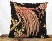 Vicky Black Large Peacock Italian Tapestry Fabric Pillow Cover