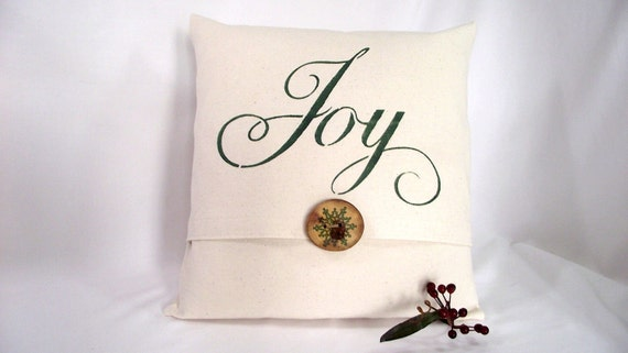 Pillow Cover Bleached Denim Fabric, Stenciled JOY in Green Paint