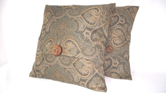 Pillow Cover Edwardian Pattern Blue and Tan Paisley Print , wooden accent