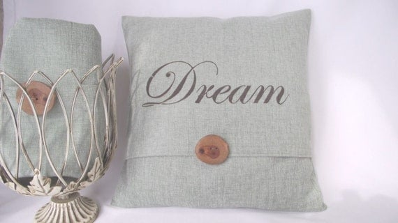 Pillow Cover 18x18  Aqua Spearmint Chenille Fabric with Hand Stenciled Wording DREAM. Accented with Wood Button