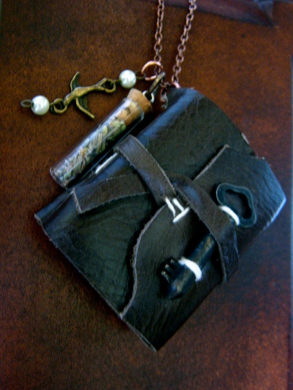 R E S E R V E D- Secrets of the Witch- mini leather book necklace