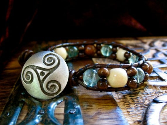 Earth, Sea, Sky- Celtic Triskle Beaded Leather Bracelet