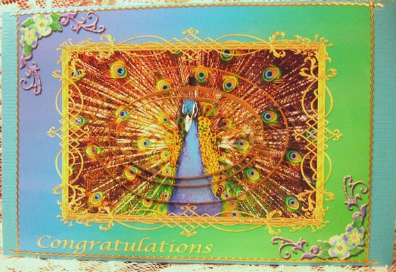 UNISEX Congratulations Brightly Colored Proud Peacock