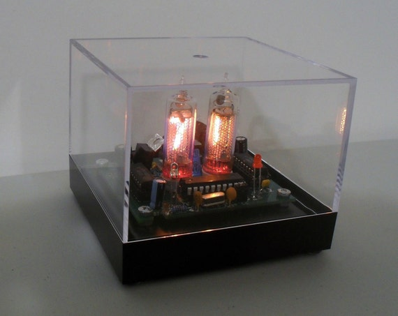 """Nixie Tube Thermometer """"The NixieTherm"""" with Color Changing Under Tube LED's"""