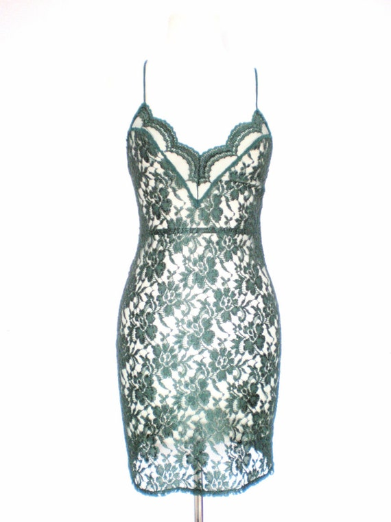 80's Emerald green sheer lingerie dress size - S
