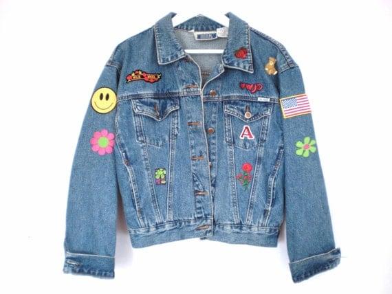 Amazing 90's grunge patchwork denim coat size - M