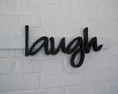 LAUGH Wooden Letters, Lower Case Script Font, Fun Word Art