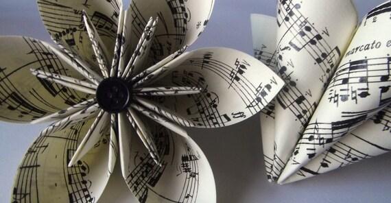 2 Handmade Sheet Music Paper Flowers- large, origami, custom, wedding, decoration, gift