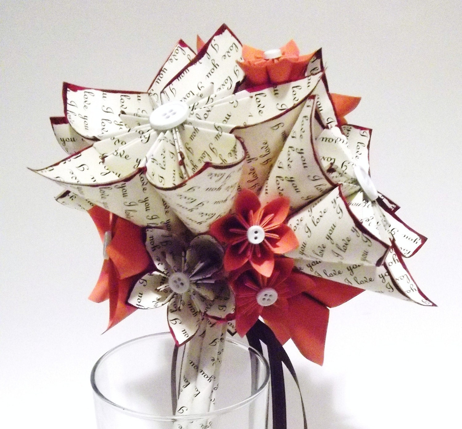 I Love You Paper Flower Wedding Bouquet 8 Inch 15 Flowers