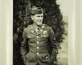 Vintage Snapshot,  1940s Army Military Man.....  Photography, Paper Ephemera, Old Photo, Photo Image, Collectibles