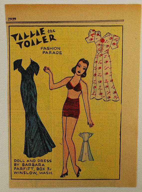 Vintage Newspaper Paper Doll, 1930-50, Vintage Paper Ephemera, Collectible