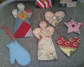 Upcycled Quilted Ornaments set of 6 assorted handmade stitched Angels Hearts Mitten