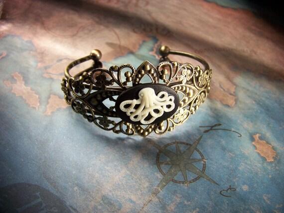 Brass Filigree Octopi Bracelet