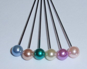 """Corsage / Boutonniere Pins Assorted Pastel Pearl 1.5"""" Pins"""
