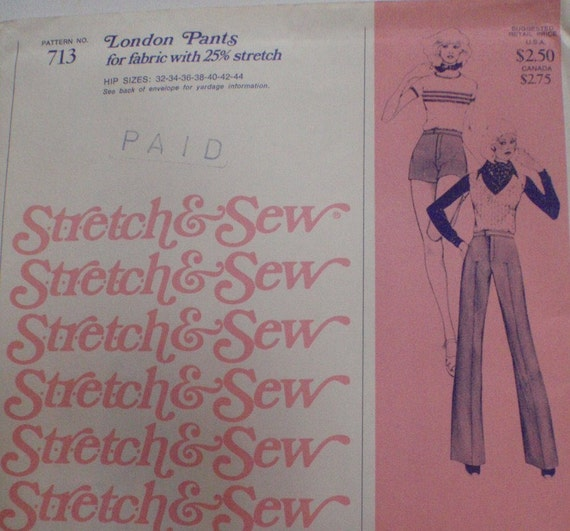 SALE - Women's Vintage Sewing Pattern -  London Pants - Stretch and Sew 713 - Hip Sizes 32 to 44, Uncut