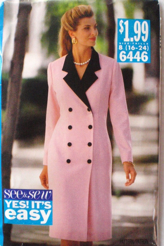 Misses Dress Pattern - Butterick See and Sew 6446 - Sizes 16 - 24, Bust 40 - 48