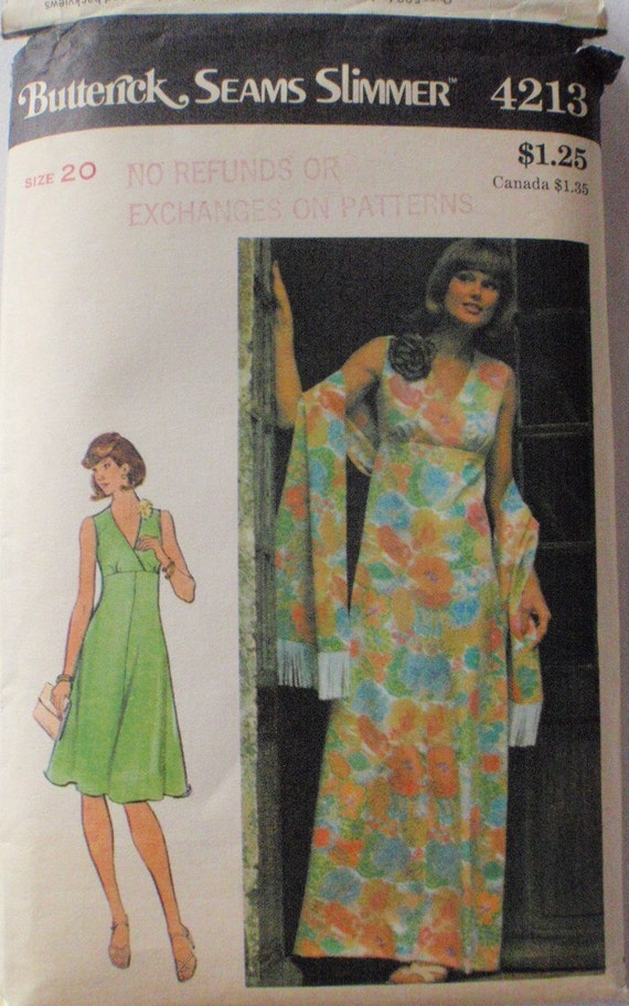 Vintage Misses Dress and Stole Pattern - Butterick Seams Slimmer 4213 -  Size 20, Bust 44