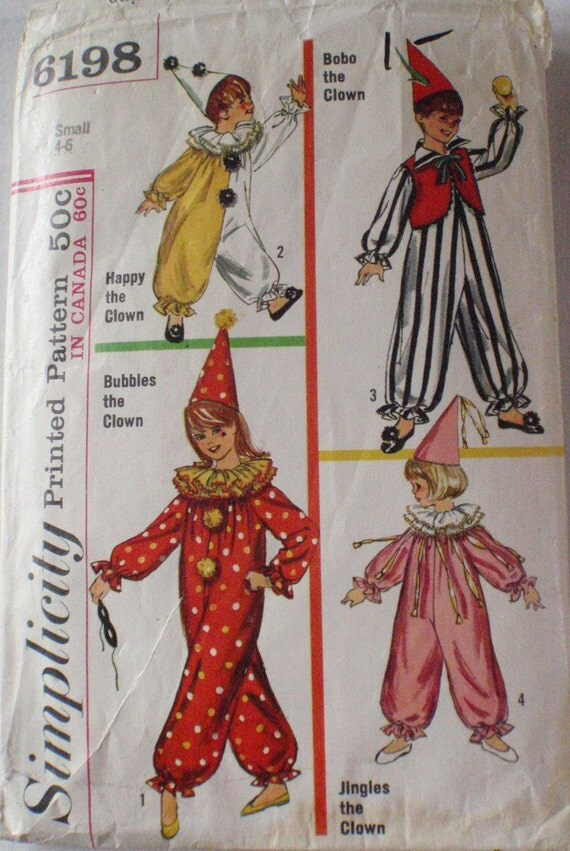 """Vintage Boy's and Girl's Clown Costume Pattern - Simplicity 6198 - Size Small (4-6), Height to 46"""""""