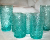 Vintage 1960s Aqua Blue Turquoise Rippled Bubble Bumby Textured Drinking Glasses