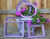 Six Purple Lavender Plum Distressed Picture Frames