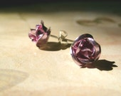 Rose Earring Posts - Shining Pink Flowers - Floral Rose Studs