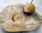 Handmade Lace Impressed Ceramic Stoneware Platter Serving Dish Milk and Honey by TotallyToTheT on Etsy.com