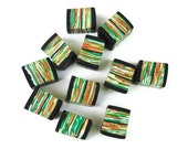 Handmade Polymer Clay Beads Green Yellow Orange Cube Square Black Tangerine Pumpkin Carrot Set of 11 eleven