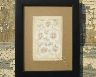 They Talked... recycled book art, a novel idea, Blossoms painted on an Antique Book Page stitched to cardstock
