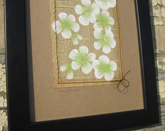 Tennessee... recycled book art, Blossoms painted on an Antique 1930s Encyclopedia book page Stitched to cardstock