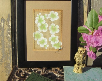Tariff... recycled book art, Blossoms painted on an Antique 1930s Encyclopedia book page Stitched to cardstock