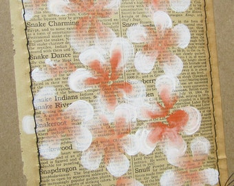 Snapdragon... recycled book art, Blossoms painted on Antique 1930s Encyclopedia book page Stitched to cardstock