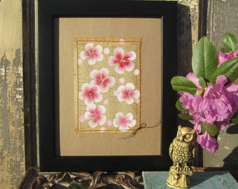 Franklin... recycled book art, Blossoms painted on an Antique 1930s Encyclopedia book page Stitched to cardstock
