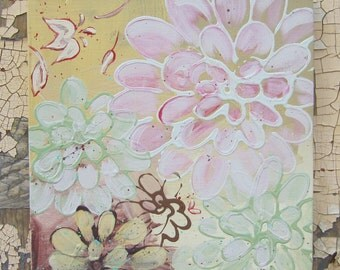 Kimono Flowers in Confection colors.. original painting 10x10 no.4 series