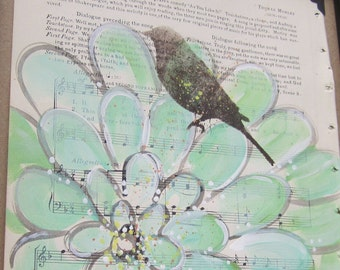 For the Birds... recycled book art original painting on 1930s sheet music book page, Shakespeare