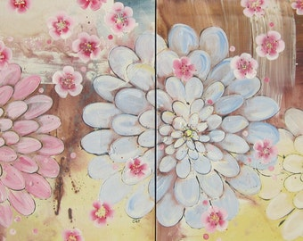 Kimono Flowers and Pink Blossoms... 2 original paintings 20x20 each, 20x40 together LARGE
