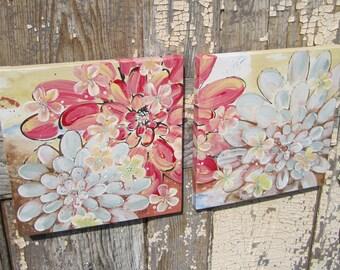 Madras Zinnias with Iridescent Blossoms... 2 original Paintings on canvas, together 20x10, Cat Seyler designs