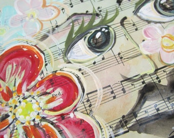 SALE. Gracieux... recycled book art original painting on Antique1950s sheet music book page,  by Cat Seyler designs
