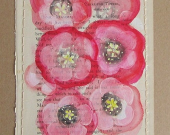 Poppies... recycled book art, a novel idea, Red Pink blossoms painted on an Antique Book Page stitched to cardstock