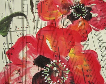 SALE. Autumn Song... recycled book art original painting on Antique 1950s sheet music book page, by Cat Seyler designs