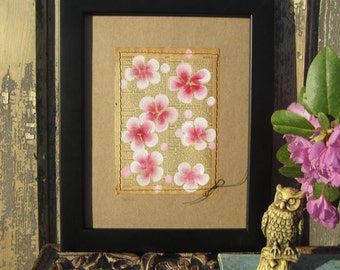 South... recycled book art, Blossoms painted on an Antique 1930s Encyclopedia book page Stitched to cardstock