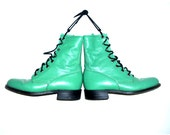 Vintage Justin boots women's aquamarine leather lace up ankle military granny