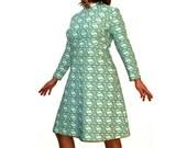 Women's 1960s dress mod space age madmen turquoise aqua blue // nehru collar mini long sleeves //  M/L