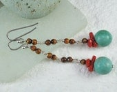 Long Dangle Earrings Turquoise Red Coral Sterling Silver Lever backs