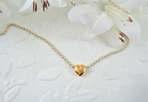 Heart Necklace 14k Gold on Sterling Silver Chain 16 inches Valentine Gift