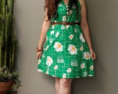 RESERVED FOR KAT - vintage 60s 70s bright kelly green white flower print trapeze dress M L