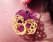Tatted lace earrings purple yellow Pansies For Thoughts