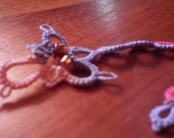 Tatting lace decorative motif or bookmark Winged Rainbow Serpent dragon
