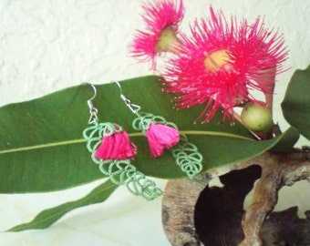 """Tatted leaf and flower earrings, green and hot pink """"Rosy Ironbark"""""""