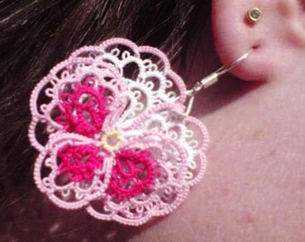 Pretty Pink Pansy Posy tatted flower earrings pink and white